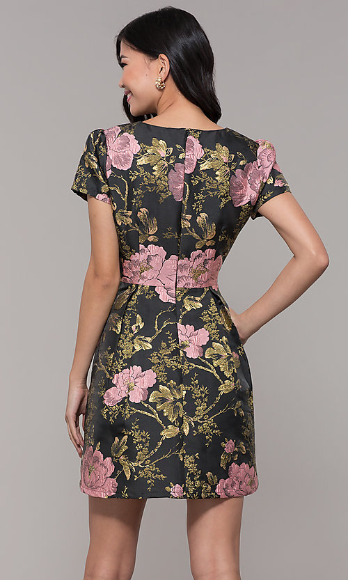 Image of short a-line woven floral-print holiday party dress. Style: MD-D15983CUQ Back Image