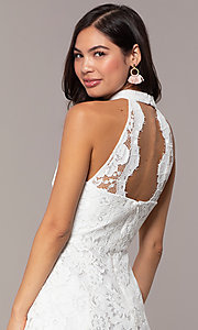 Image of short high-neck white lace graduation party dress. Style: DMO-J323857 Detail Image 2