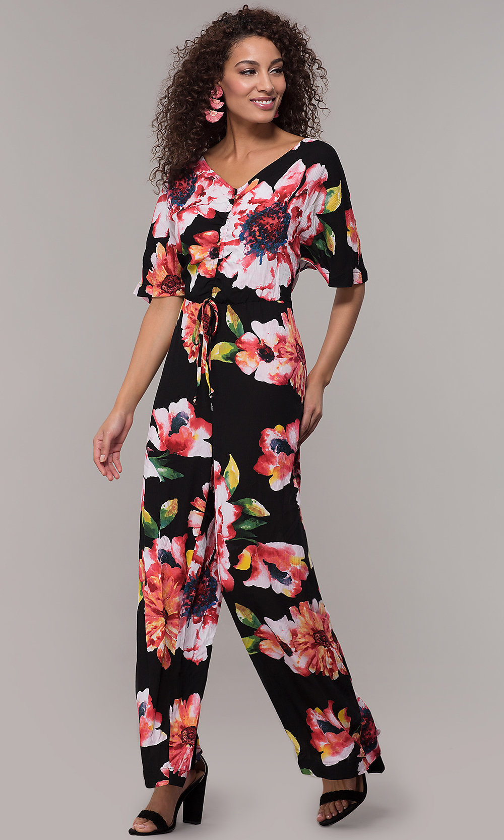 new & pre-owned designer exceptional range of styles and colors attractive style Floral-Print V-Neck Wedding-Guest Jumpsuit