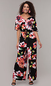 Image of floral-print v-neck wedding-guest jumpsuit. Style: ECI-720431-75510A Detail Image 3