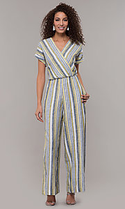 Image of short-sleeve striped long jumpsuit with pockets. Style: ECI-720476-8099A Detail Image 3