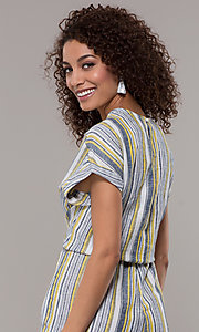 Image of short-sleeve striped long jumpsuit with pockets. Style: ECI-720476-8099A Detail Image 2