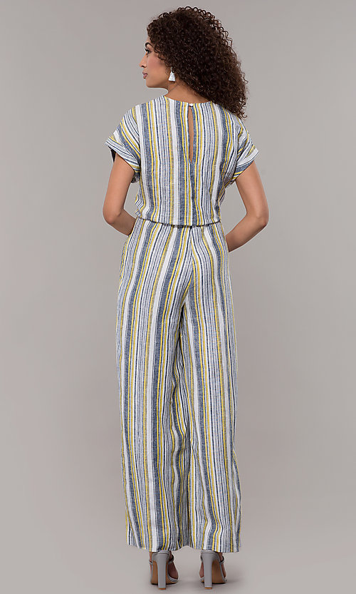 Image of short-sleeve striped long jumpsuit with pockets. Style: ECI-720476-8099A Back Image