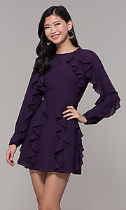 Image of long-sleeve short violet purple wedding-guest dress. Style: FAN-EKD2076 Front Image