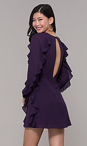 Image of long-sleeve short violet purple wedding-guest dress. Style: FAN-EKD2076 Back Image