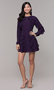 Image of long-sleeve short violet purple wedding-guest dress. Style: FAN-EKD2076 Detail Image 3