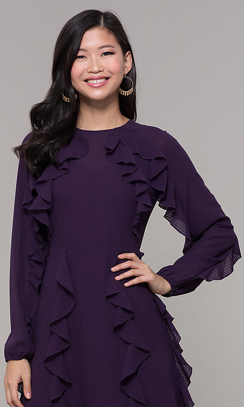 Image of long-sleeve short violet purple wedding-guest dress. Style: FAN-EKD2076 Detail Image 1