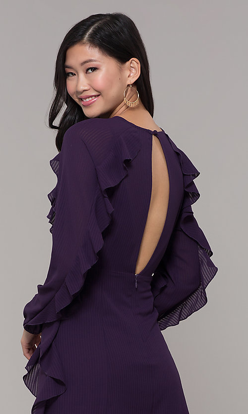 Image of long-sleeve short violet purple wedding-guest dress. Style: FAN-EKD2076 Detail Image 2