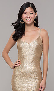 Image of gold sequin mini holiday party dress. Style: FAN-EKD2092 Detail Image 1