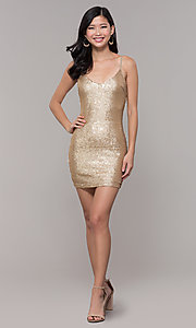 Image of gold sequin mini holiday party dress. Style: FAN-EKD2092 Detail Image 3
