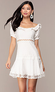 Image white short off-the-shoulder grad party dress. Style: FAN-EKD2116 Front Image
