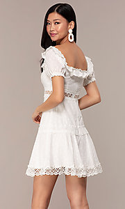 Image white short off-the-shoulder grad party dress. Style: FAN-EKD2116 Back Image