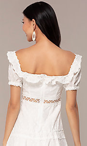 Image white short off-the-shoulder grad party dress. Style: FAN-EKD2116 Detail Image 2