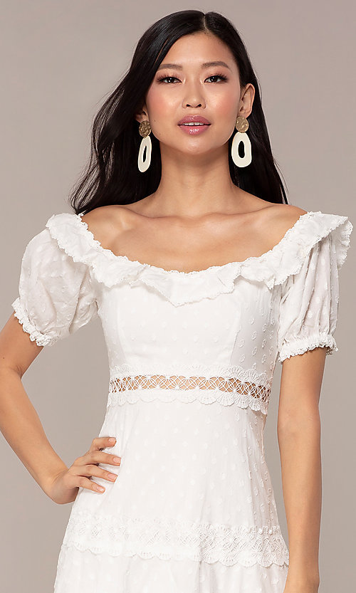 Image white short off-the-shoulder grad party dress. Style: FAN-EKD2116 Detail Image 1