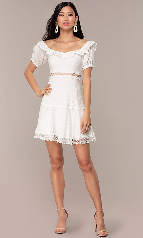 Image white short off-the-shoulder grad party dress. Style: FAN-EKD2116 Detail Image 3
