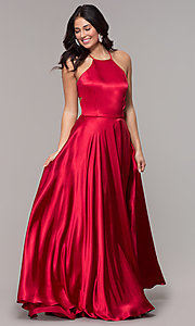 Image of high-neck open-back long faux-wrap prom dress. Style: BN-1160BN Back Image