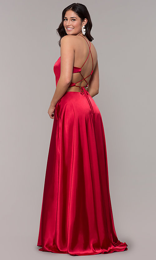 ad550c17af Image of high-neck open-back long faux-wrap prom dress. Style