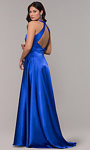 Image of long royal blue faux-wrap illusion-v-neck prom dress. Style: BN-1246BN Back Image