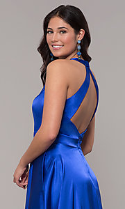 Image of long royal blue faux-wrap illusion-v-neck prom dress. Style: BN-1246BN Detail Image 2