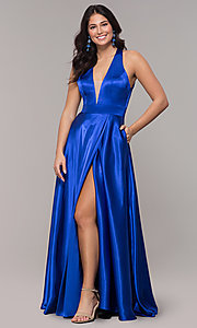 Image of long royal blue faux-wrap illusion-v-neck prom dress. Style: BN-1246BN Front Image