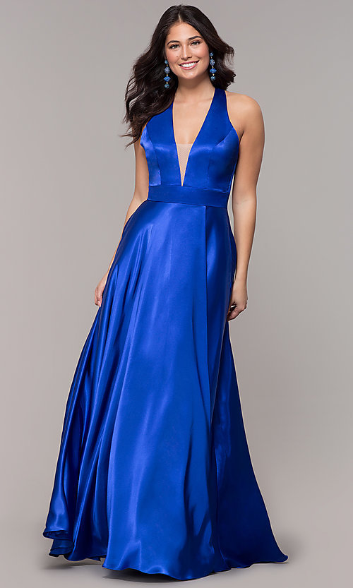 Image of long royal blue faux-wrap illusion-v-neck prom dress. Style: BN-1246BN Detail Image 3
