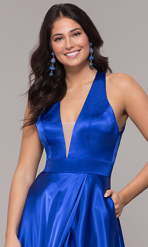Image of long royal blue faux-wrap illusion-v-neck prom dress. Style: BN-1246BN Detail Image 1