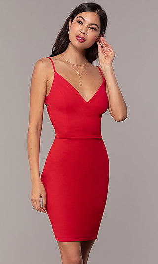 Short V-Neck Sheath Party Dress