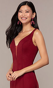 Image of long Clarrise v-neck prom dress. Style: CLA-3153 Detail Image 1
