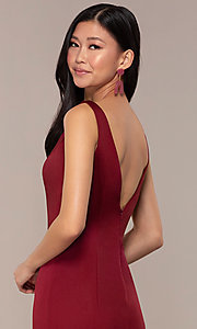 Image of long Clarrise v-neck prom dress. Style: CLA-3153 Detail Image 2