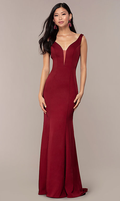 Image of long Clarrise v-neck prom dress. Style: CLA-3153 Front Image