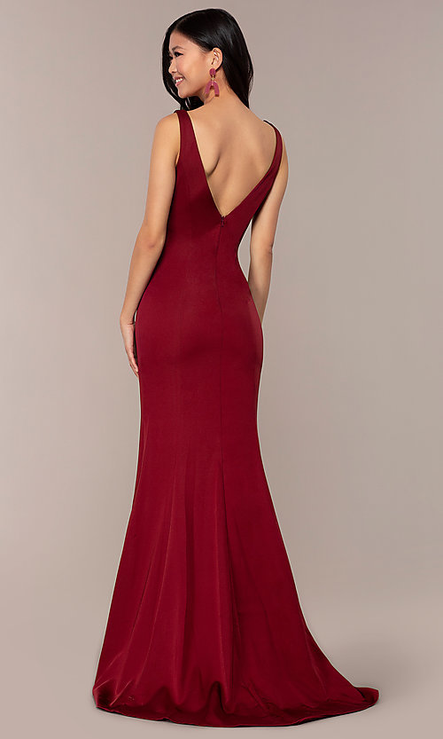 Image of long Clarrise v-neck prom dress. Style: CLA-3153 Back Image