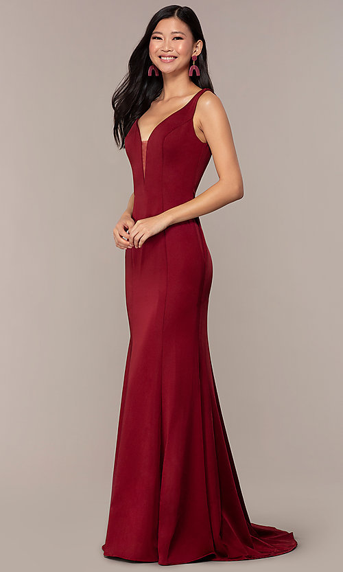 Image of long Clarrise v-neck prom dress. Style: CLA-3153 Detail Image 3