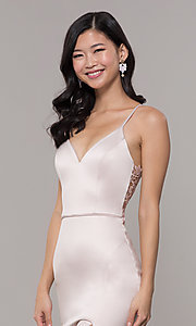 Image of long buff pink v-neck prom dress with lace back. Style: MY-5770YB1S Detail Image 1