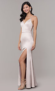Image of long buff pink v-neck prom dress with lace back. Style: MY-5770YB1S Front Image