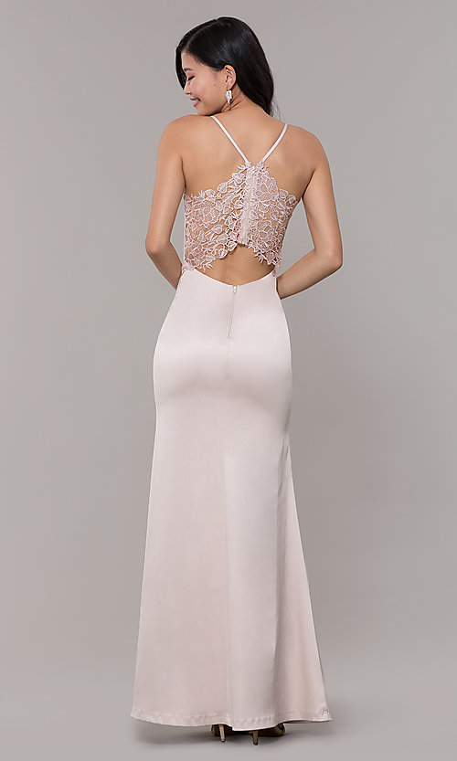 Image of long buff pink v-neck prom dress with lace back. Style: MY-5770YB1S Back Image