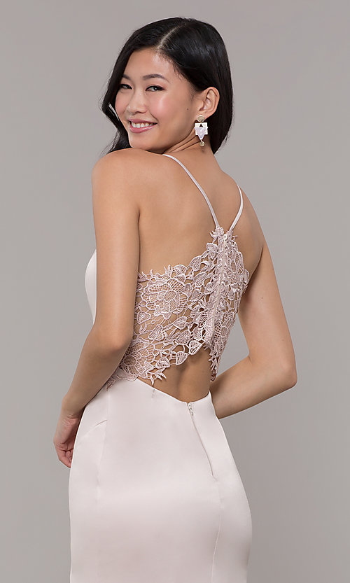 Image of long buff pink v-neck prom dress with lace back. Style: MY-5770YB1S Detail Image 2
