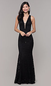 Image of open-back long lace v-neck prom dress. Style: CL-46302 Detail Image 4