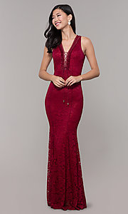 Image of open-back long lace v-neck prom dress. Style: CL-46302 Front Image