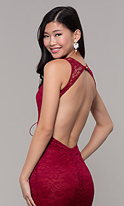 Image of open-back long lace v-neck prom dress. Style: CL-46302 Detail Image 2