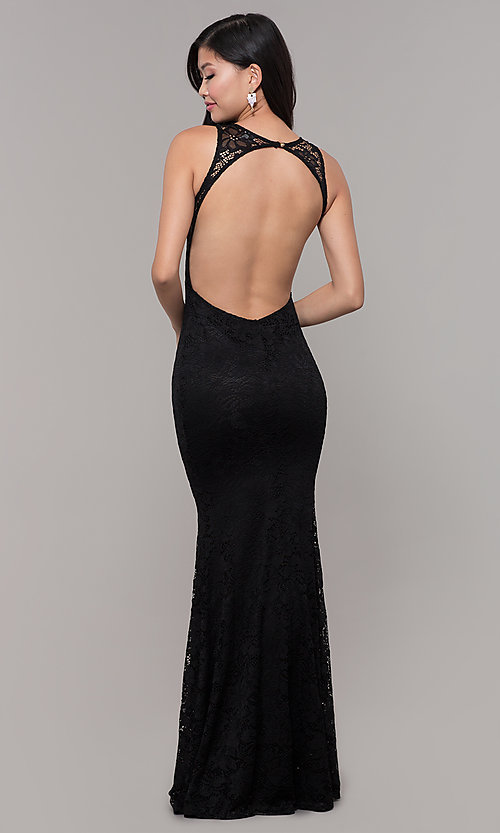 Image of open-back long lace v-neck prom dress. Style: CL-46302 Detail Image 5