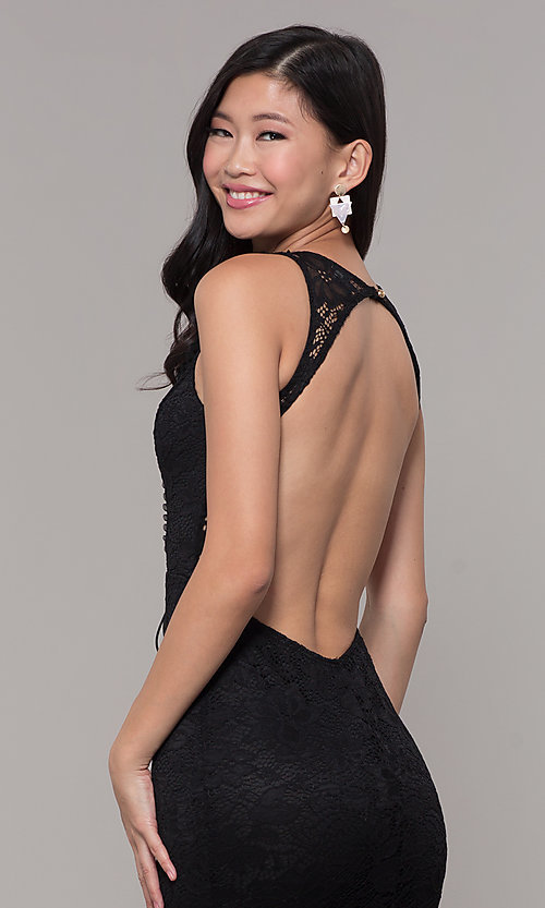 Image of open-back long lace v-neck prom dress. Style: CL-46302 Detail Image 7