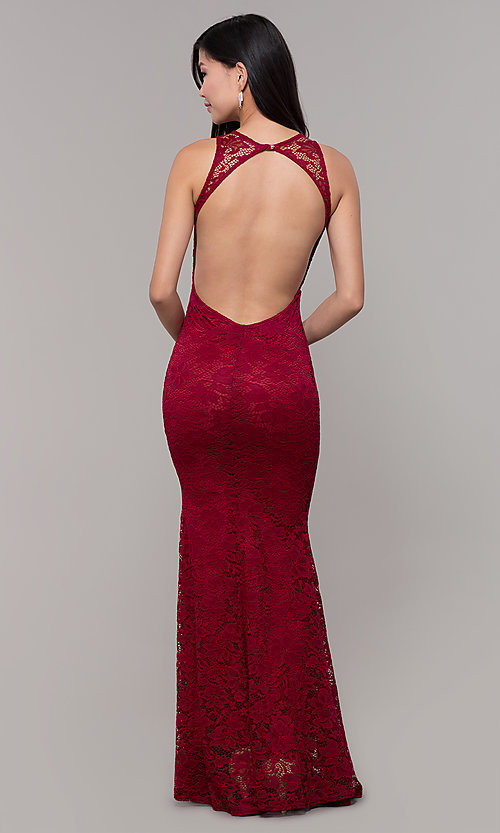 Image of open-back long lace v-neck prom dress. Style: CL-46302 Back Image