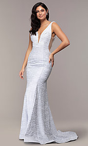 Image of sleeveless low-open-back glitter-jersey prom dress. Style: CLA-3713 Front Image