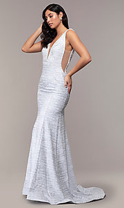 Image of sleeveless low-open-back glitter-jersey prom dress. Style: CLA-3713 Detail Image 3