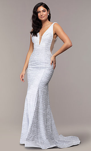 Sleeveless Low-Open-Back Glitter-Jersey Prom Dress