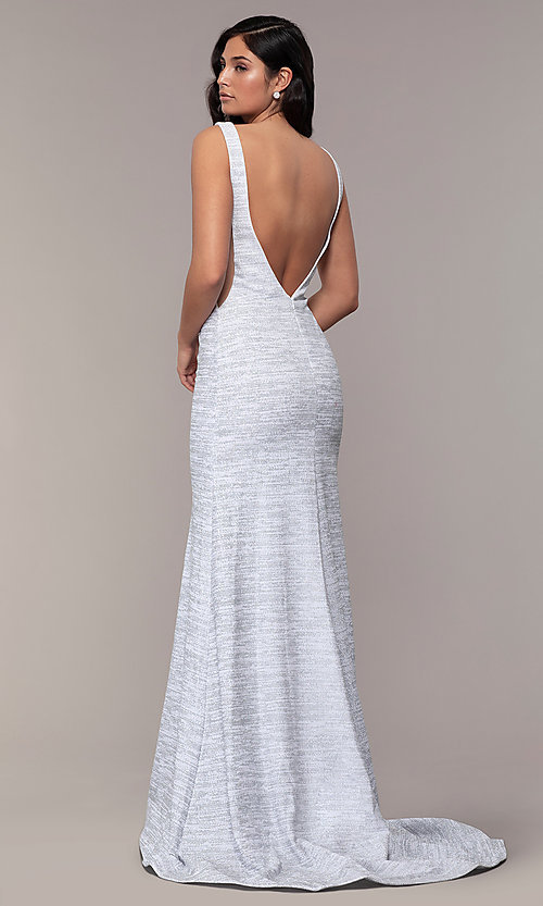Image of sleeveless low-open-back glitter-jersey prom dress. Style: CLA-3713 Back Image