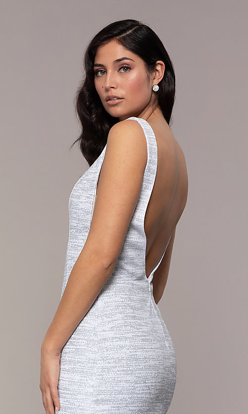 Image of sleeveless low-open-back glitter-jersey prom dress. Style: CLA-3713 Detail Image 2