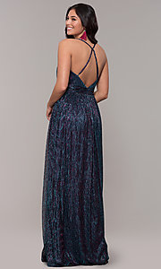 Image of iridescent long formal v-neck prom dress. Style: CLA-3727 Back Image