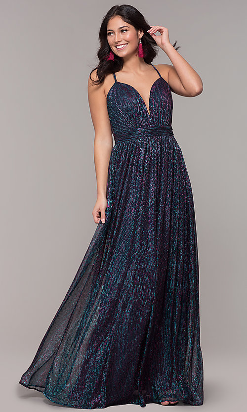 Image of iridescent long formal v-neck prom dress. Style: CLA-3727 Front Image