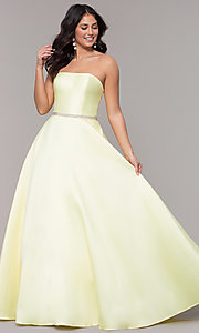 Image of long a-line strapless prom dress with pockets.  Style: CLA-3739 Detail Image 4